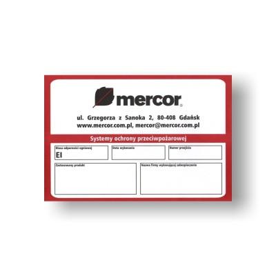 Etykieta znamionowa Mercor (papierowa samoprzylepna)