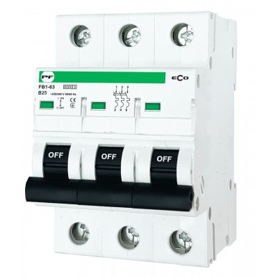 Wyłącznik nadprądowy ECO FB1-63 3P B 25A 6kA AC FB1B3025