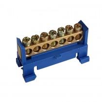 Listwa zaciskowa 7-torowa niebieska na szynę TH35 F607B