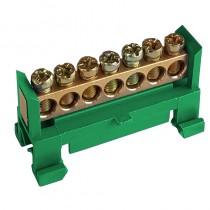 Listwa zaciskowa 7-torowa zielona na szynę TH35 F607G